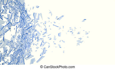 Broken blue glass in motion into pieces isolated on white...