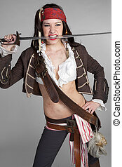 Sexy Pirate - Sexy pirate woman biting sword