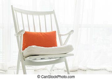 Rocking chair with pillow decoration in living room interior