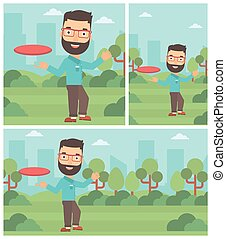 Man playing flying disc vector illustration. - Hipster man...