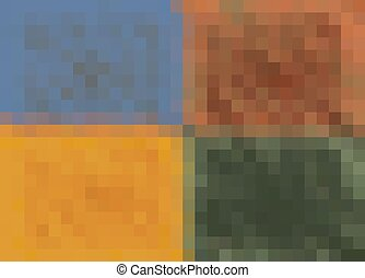 blue brown yellow and green pixel abstract background