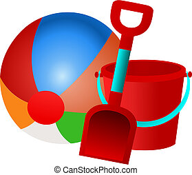 Beach Ball Bucket and Spade Vector - Vector illustration of...