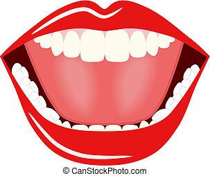 grande, boca, vetorial