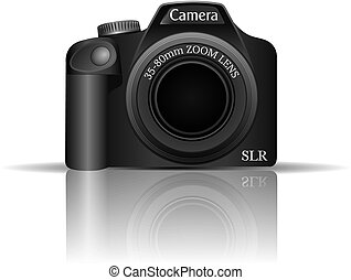 SLR Camera Vector - Vector Illustration of an SLR camera and...
