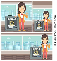 Woman with three D printer vector illustration. - Young...