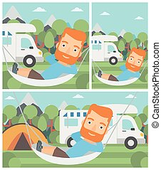Man lying in hammock in front of motor home - Hipster man...