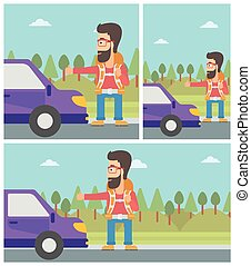 Young man hitchhiking vector illustration - Young hipster...