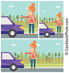 Young woman hitchhiking vector illustration - Young woman...
