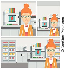 Woman with three D printer vector illustration - Young woman...
