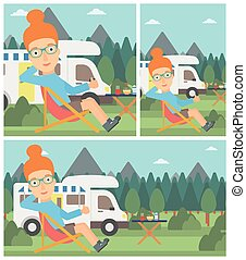 Woman sitting in chair in front of camper van. - Young woman...