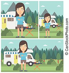 Woman standing in front of motor home Woman with arms...