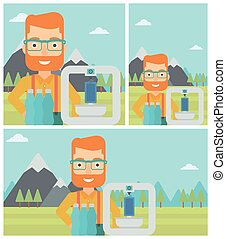 Man with three D printer vector illustration. - Man standing...