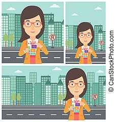 Woman with modular phone vector illustration - Smiling woman...