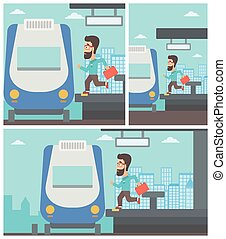 Latecomer man running for the train - Latecomer man with...