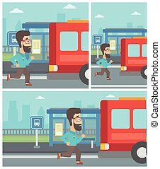Latecomer man running for the bus - Latecomer man running...