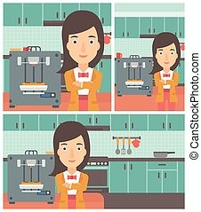 Woman with three D printer vector illustration - Woman...
