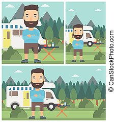 Man standing in front of motor home - A hipster man with the...