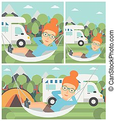 Woman lying in hammock in front of motor home - Young woman...