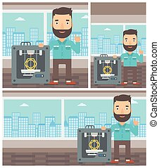 Man with three D printer vector illustration. - Hipster man...