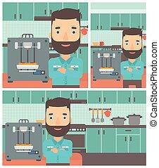 Man with three D printer vector illustration. - Hipster man...