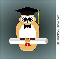 Graduation Owl Vector - Vector illustration of a graduating...