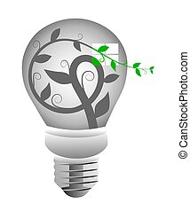 Green Energy Light Bulb - Illustration of a vine with leaves...