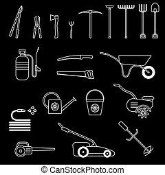 Set of garden tool. Garden tool icon. Gardening equipment....