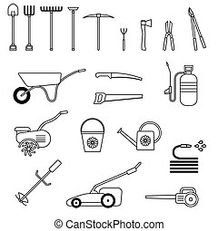 Set of garden tool. Garden tool icon.