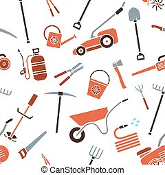 Seamless pattern of garden tools.