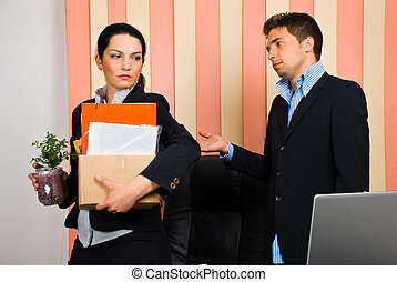 You are fired - Business woman is dismissed by her boss and...