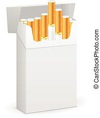 Box with cigarette - Cigarette box on a white background