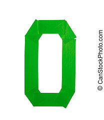 Number zero symbol made of insulating tape isolated over the...