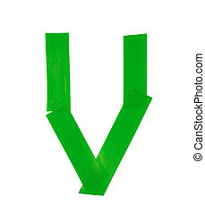 Letter V symbol made of insulating tape pieces, isolated...