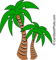 Palm Trees Vector - Vector illustration of two palm trees
