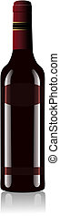 Red Wine Bottle Vector - Vector illustration of a red wine...