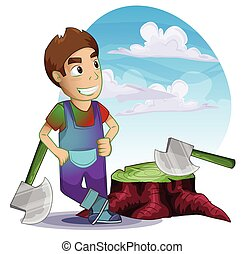 carpenter man with separated layers