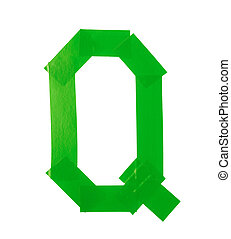 Letter Q symbol made of insulating tape pieces, isolated...