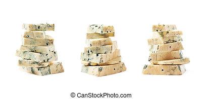 pilha, de, azul, queijo, fatias, isolado