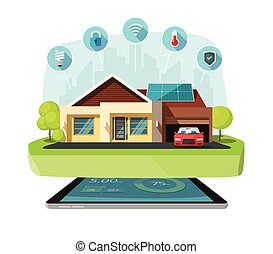 Smart home modern future house vector illustration, solar...