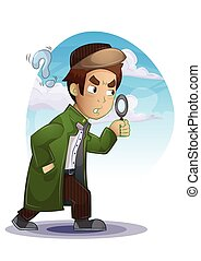 detective cartoon with separated layers for game and...