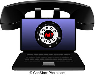 Voice Over IP - VoIP Vector - Vector illustration of a...