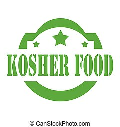 Kosher Food-stamp - Green stamp with text Kosher Food,vector...