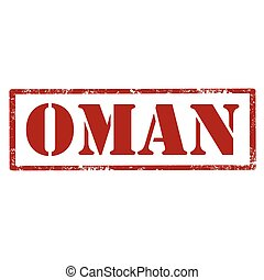 Oman-red stamp - Grunge rubber stamp with text Oman,vector...