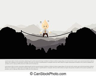 Businessman cross the risk bridge to success - Vector