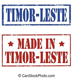 Made In Timor-Leste - Set of stamp with text...