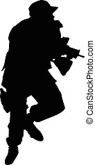 Soldier silhouette with weapons