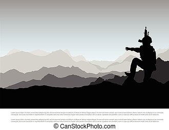 Silhouette of military with weapons mountain, background