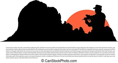 Soldier silhouette and military concept