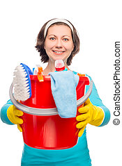 housewife holding hands in a bucket with cleaning products isolated on white background