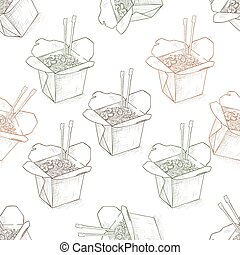 Seamless pattern scetch of chinese noodles box. Vector...
